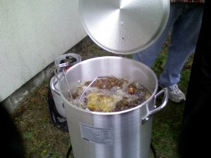 25 pounds of turkey frying!