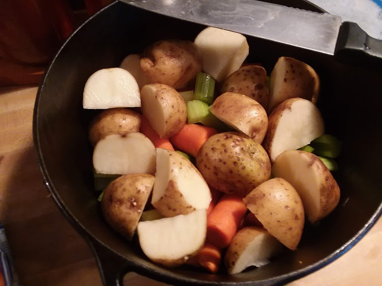 potatoes, carrots, onion and celery baked in butter and seasonings 2019